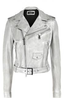 Укороченная куртка из металлизированной кожи с косой молнией Dsquared2