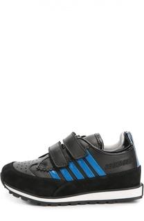 Кожаные кроссовки с замшевой отделкой Dsquared2