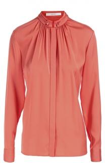 Шелковая блуза прямого кроя с воротником-стойкой BOSS