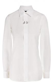 Хлопковая блуза прямого кроя с декоративной брошью Dsquared2