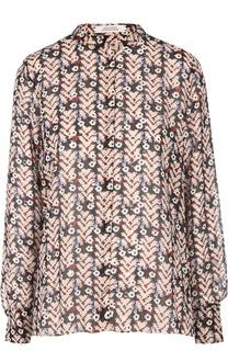 Шелковая блуза прямого кроя с воротником-стойкой и ярким принтом Dorothee Schumacher