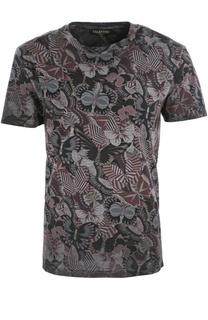 Хлопковая футболка Rockstud Japanese Butterfly Valentino