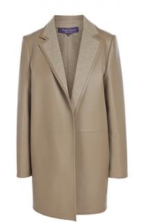 Кожаное утепленное пальто с широкими лацканами Ralph Lauren