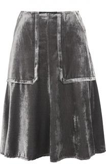 Бархатная юбка-миди с накладными карманами Dorothee Schumacher