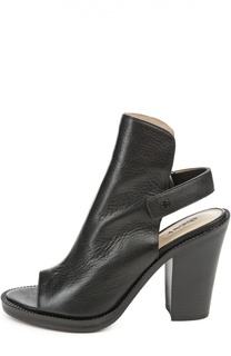 Кожаные босоножки с застежкой велькро DKNY