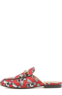 Текстильные сабо Princetown с принтом Gucci