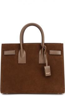 Замшевая сумка Sac De Jour Small с отделкой из кожи Saint Laurent