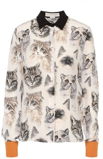 Шелковая блуза с контрастной отделкой и принтом Stella McCartney