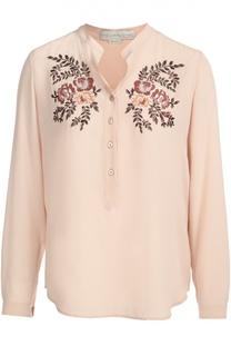 Шелковая блуза с воротником-стойкой и цветочной вышивкой Stella McCartney