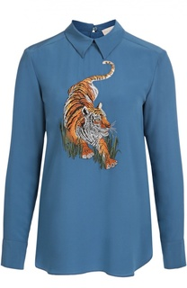 Шелковая удлиненная блуза с вышивкой в виде тигра Stella McCartney