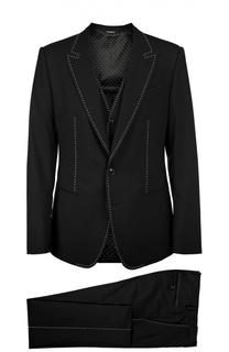 Костюм-тройка с контрастной отстрочкой Dolce & Gabbana