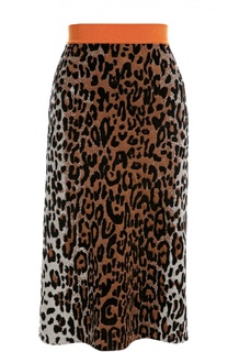 Юбка прямого кроя с леопардовым принтом и контрастным поясом Stella McCartney
