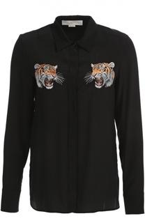 Шелковая удлиненная блуза с вышивкой в виде тигров Stella McCartney