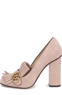 Замшевые туфли Marmont с пряжкой Gucci