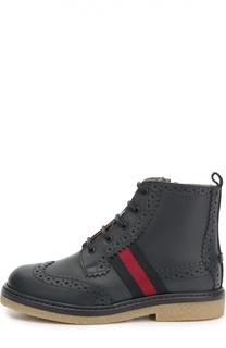Кожаные ботинки с текстильной лентой Gucci