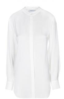 Шелковая блуза прямого кроя с воротником-стойкой DKNY