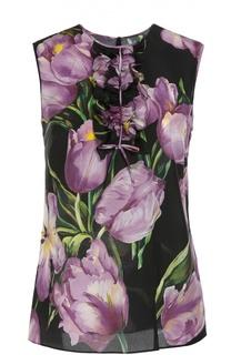Шелковый топ прямого кроя с цветочным принтом Dolce & Gabbana