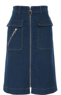 Джинсовая юбка на молнии с накладными карманами Stella McCartney
