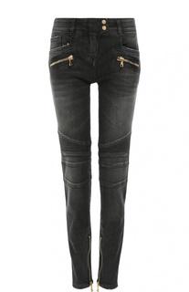Байкерские джинсы-скинни с декоративной отделкой Balmain