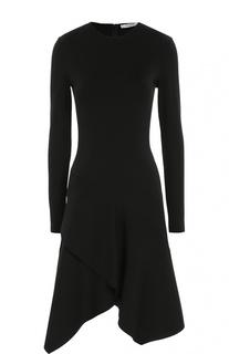 Приталенное платье асимметричного кроя с длинным рукавом Givenchy
