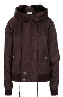 Утепленная куртка с капюшоном и меховой отделкой Chloé