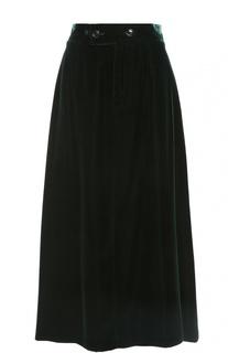 Бархатная юбка-миди с широким поясом Saint Laurent