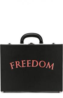 """Кожаный портфель с надписью """"Freedom"""" Bertoni"""