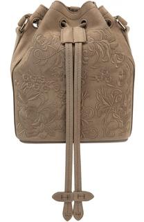 Замшевая сумка Floral Drawstring small с вышивкой Ralph Lauren
