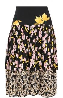 Шелковая плиссированная юбка с цветочным принтом Marni