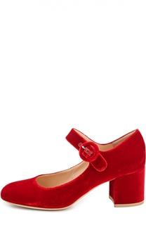 Бархатные туфли на устойчивом каблуке Gianvito Rossi