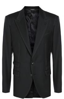 Шерстяной пиджак с контрастной отстрочкой Dolce & Gabbana