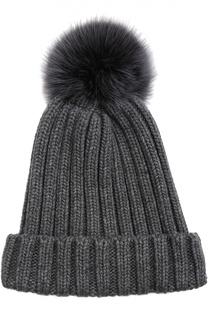 Вязаная шапка с меховым помпоном Nima