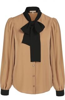 Шелковая блуза с контрастным воротником аскот Michael Kors