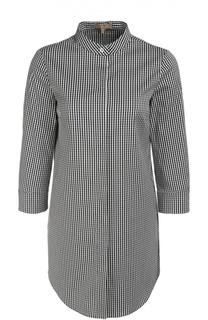 Удлиненная блуза в мелкую клетку с воротником-стойкой Michael Kors