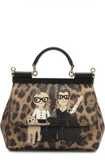 Сумка Sicily medium с аппликацией DG Family и леопардовым принтом Dolce & Gabbana