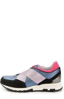 Комбинированные кроссовки с эластичными лентами Lanvin
