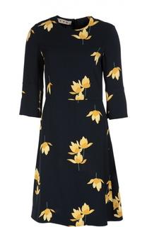 Приталенное платье с укороченным рукавом и цветочным принтом Marni