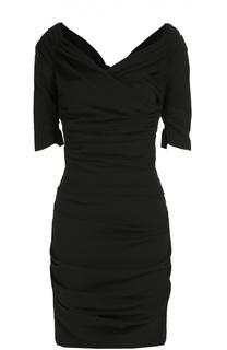 Шерстяное приталенное платье с открытыми плечами Dolce & Gabbana