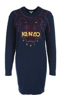 Шерстяное платье фактурной вязки с вышивкой Kenzo