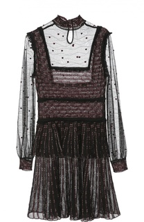 Мини-платье из прозрачного кружева с добавлением металлических нитей Alexander McQueen