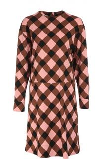 Платье свободного кроя с круглым вырезом и клетчатым принтом Marni