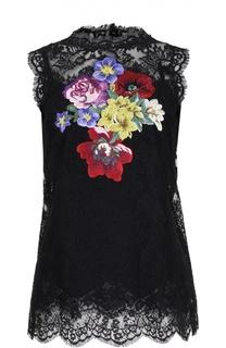Кружевной топ без рукавов с вышивкой Dolce & Gabbana