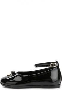 Кожаные туфли с бантом и подвеской Dolce & Gabbana