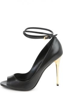 Кожаные туфли Metal Heel с открытым мысом Tom Ford