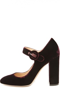 Бархатные туфли Lorraine на устойчивом каблуке Gianvito Rossi