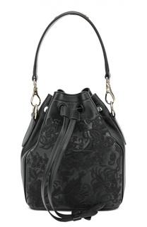 Кожаная сумка Floral Drawstring small с вышивкой Ralph Lauren