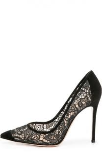 Замшевые туфли Elodie с кружевом на шпильке Gianvito Rossi