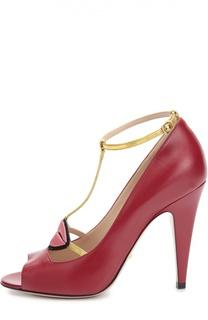 Кожаные туфли Molina с аппликацией Gucci