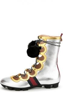 Кожаные высокие кеды Titan High с помпонами Gucci