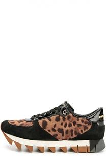 Комбинированные кроссовки Capri на шнуровке Dolce & Gabbana